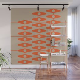 abstract eyes pattern orange tan Wall Mural
