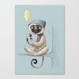 Sifaka with ice cream Canvas Print