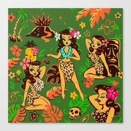 Tiki Temptress on Green Canvas Print