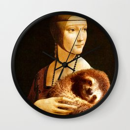 Lady With A Sloth Wall Clock