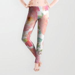 Pink Peonies Watercolor Pattern Leggings