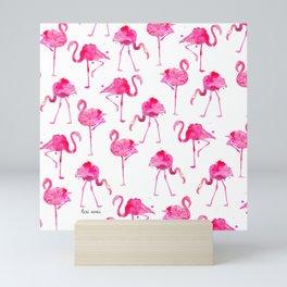 floridian flamingos - white Mini Art Print