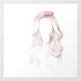 Red Wavy Hair Art Print