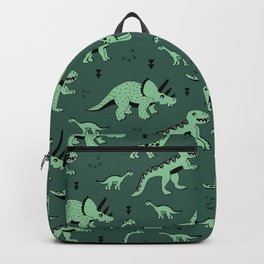 Dinosaur jungle love quirky creatures illustration Backpack
