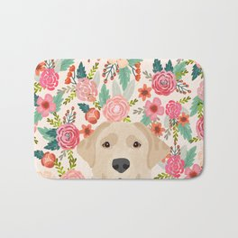Labrador Retriever yellow lab floral pattern cute florals dog breed pure breed dog lover gifts Bath Mat