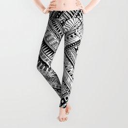Tribal Ethnic Style  Black & White Leggings