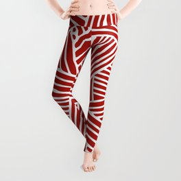 Abstract Navy Red & White Lines and Triangles Pattern Leggings