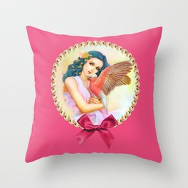 Blue haired elf and her galah Throw Pillow