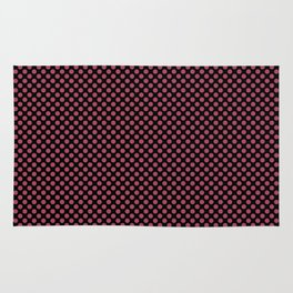 Black and Hippie Pink Polka Dots Rug