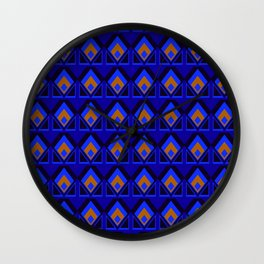 Blue and Orange Pattern Wall Clock