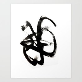 Brushstroke 4 - a simple black and white ink design Art Print