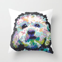maltese poodle Maltipoo Dog Portrait Pop Art painting by Lea Throw Pillow