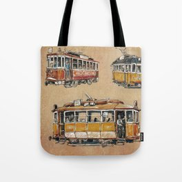 Old vintage yelow trams -nostagic pubic transport Tote Bag