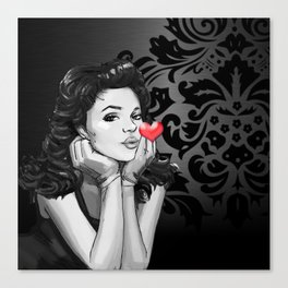 Retro Pinup Girl Blowing a Heart Kiss Canvas Print