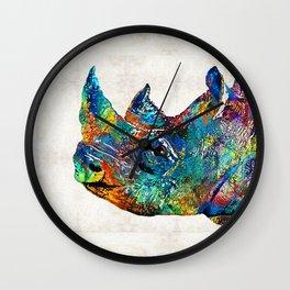 Rhino Rhinoceros Art - Looking Up - By Sharon Cummings Wall Clock