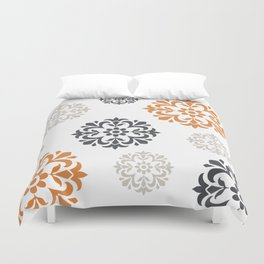 Flowers in Grey and Mustard Duvet Cover