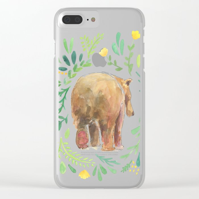 Watercolor Bear Clear iPhone Case