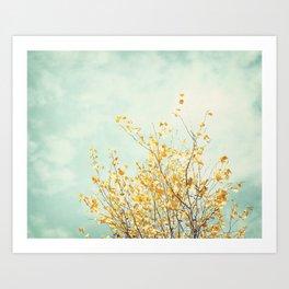 Yellow Tree Leaves Mint Sky Photography, Nature Turquoise Teal Gold Aqua Art Print