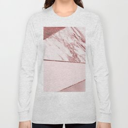 Spliced mixed pinks rose gold marble Long Sleeve T-shirt