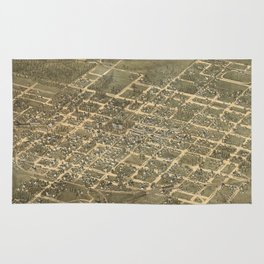 Vintage Pictorial Map of Raleigh NC (1872) Rug