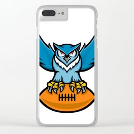 Great Horned Owl American Football Mascot Clear iPhone Case