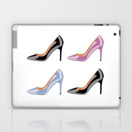High heel shoes in black, serenity blue and bodacious pink Laptop & iPad Skin