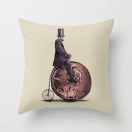 Penny Farthing Throw Pillow
