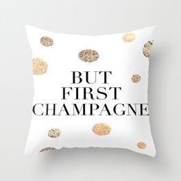 But First Champagne Print, But First Champagne Poster, Champagne Print, Bar Wall Art Throw Pillow