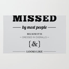 """Thomas Edison Quote: """"Opportunity is Missed by Most People..."""" Rug"""