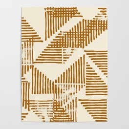 Stripe Triangle Block Print Geometric Pattern in Orange Poster