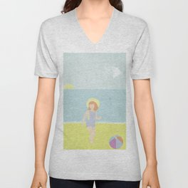 Girl at the beach with kite and ball in the 1950's vintage Unisex V-Neck
