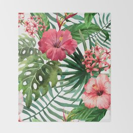 tropical hibiscus Throw Blanket