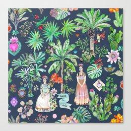 Frida Kahlo Botanics - Carbon Grey Canvas Print