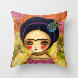 Frida In An Orange And Pink Dress Throw Pillow