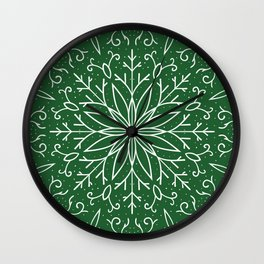 Single Snowflake - green Wall Clock