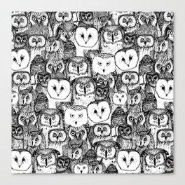 just owls black white Canvas Print