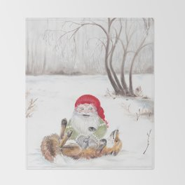 The gnome and his friend the fox - Christmas Throw Blanket