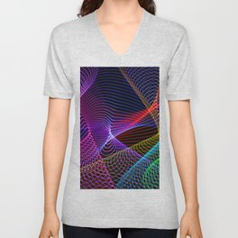 Rainbow Tornados Light Painting Unisex V-Neck