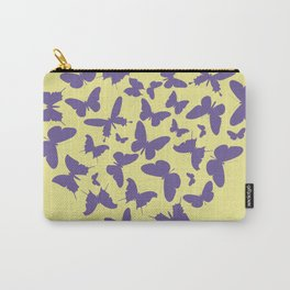 Ultra violet heart shape made from butterfly silhouettes. Carry-All Pouch