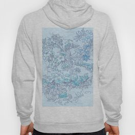 """Alphonse Mucha """"Anemones, Apple Blossoms and Narcissi"""" (edited blue) Hoody"""