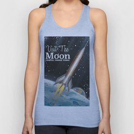 visit the moon vintage science fiction poster Unisex Tank Top