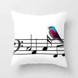 Bird on Music Sheet Throw Pillow