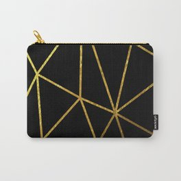 gold line triangles on blkack background Carry-All Pouch