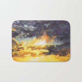 Watercolor Sky No 5 - colorful rain clouds Bath Mat