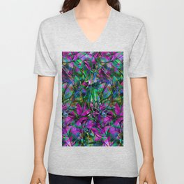 Floral Abstract Stained Glass G276 Unisex V-Neck