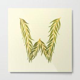 Leafy Letter W Metal Print