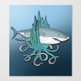 Octopus Bit The Great White Shark Canvas Print