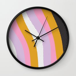 Abstract Print - Mixed Colors and Patterns Wavy Lines Wall Clock