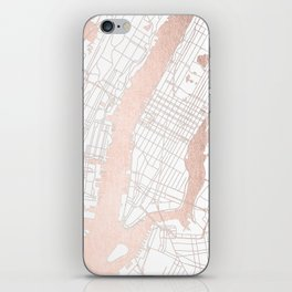 New York City White on Rosegold Street Map iPhone Skin