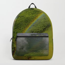 Hawaiian Rainbow Over Valley in Kauai: Aerial View Backpack